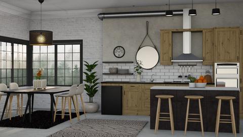 Wood And Concrete - Kitchen  - by Kelli Mallory