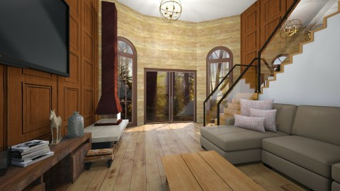 Wooden Cabin - Country - Living room  - by redRose91799