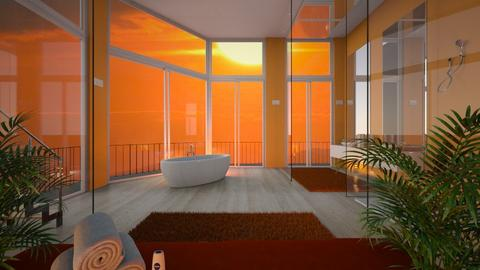Orange and white BR - Bathroom  - by its lia