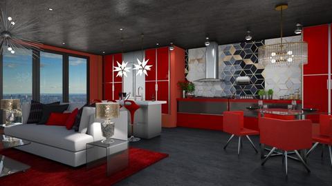 Red Kitchen - Kitchen - by JarkaK