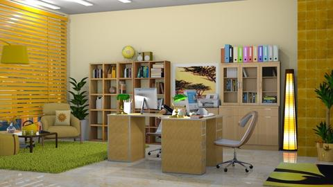 Yellow working space - Office  - by nat mi
