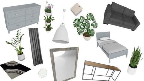 Mod Grey Bedroom - by designkitty31