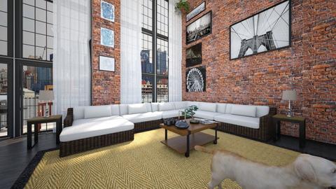 Industrial Loft Apartment - Living room  - by SammyJPili