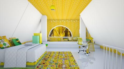 Clean Attic Bedroom  - Modern - Bedroom  - by InteriorDesigner111