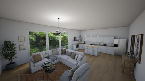 Living room with kitchen - Retro - Living room  - by ana pogorelec