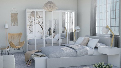 M_White and naturel - Bedroom  - by milyca8