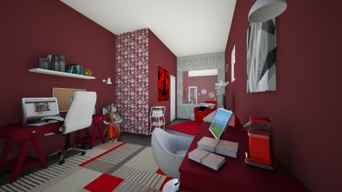 Red Office - Modern - Office - by _PeaceLady_