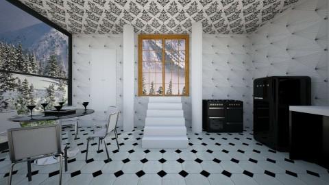BlackandWhiteKitchen - Minimal - Kitchen  - by lori gilluly