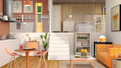 Orange White Apartment - Eclectic - Living room  - by Sally Simpson
