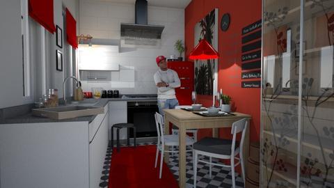 Student Kitchen RED - Kitchen  - by Eleonor Debus