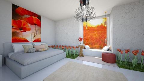 poppy bedroom  - Bedroom  - by abbysrooms