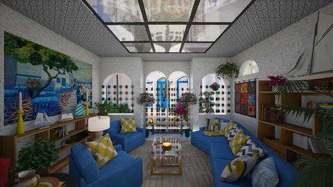 living room in mykonos - by Teri Dawn