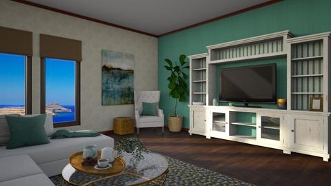 Turq and Gold Living - Living room  - by Anjuli