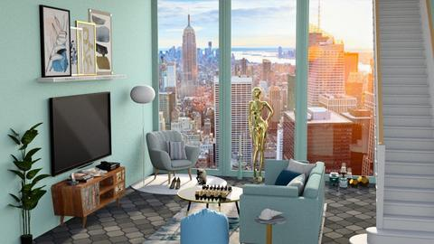 salon turquoise - Modern - Living room - by rimanina