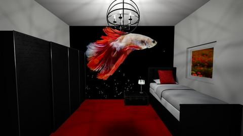 Red fish bedroom - Bedroom  - by khayla simpson