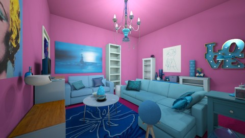 blue and pink - Living room - by rachelfox985
