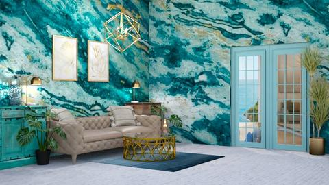 Turquoise Living - Living room  - by Parisrosali