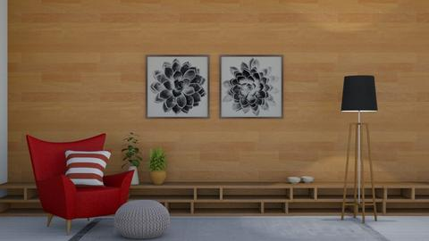 Red and Wood - Living room  - by KittyKat28