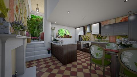 flowersA - Country - Kitchen  - by donella