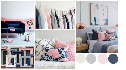 Navy blue pink moodboard - by Cristina Mazilu