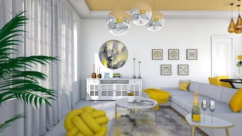 M_ White and yellow - Living room  - by milyca8