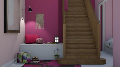Hot Pink Rose - Living room  - by designkitty31