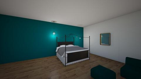 turquoise and gold - Bedroom - by chrysanthiamestrada