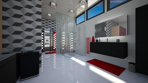 Red accent - Modern - Bathroom  - by Amyz625