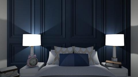 Navy paneling bedroom - Bedroom  - by Ash03