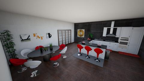 red white and black - Modern - Kitchen  - by kersdyla