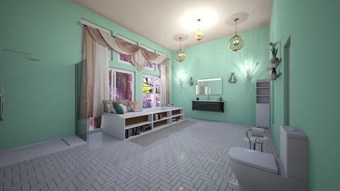 master blue bathroom - Glamour - Bathroom  - by aschaper