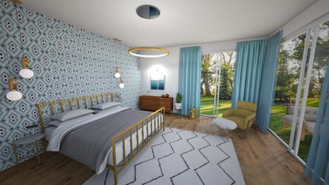 turquoise master - Bedroom - by Fernanda Porfirio