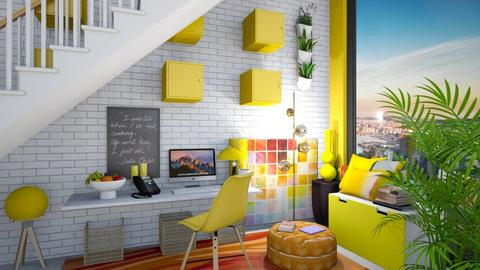 yellow space under stair - Office  - by housedec2814