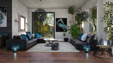 Black_Blue - Modern - Living room  - by ZsuzsannaCs