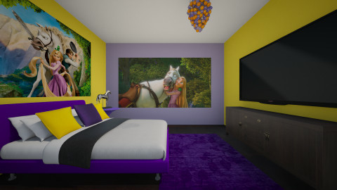 Tangled fan room - Retro - Bedroom  - by ellytrux33
