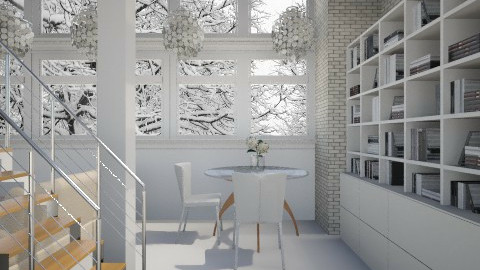 White and Stone - Living room - by alasiamilan
