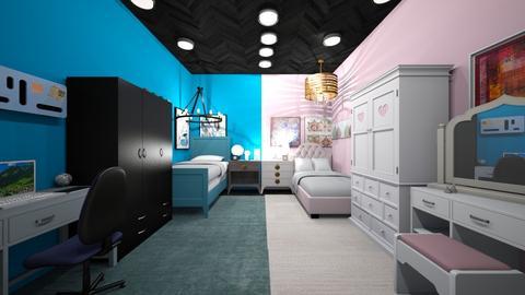 twinnies nerd and makeup - Bedroom - by pigsfordays