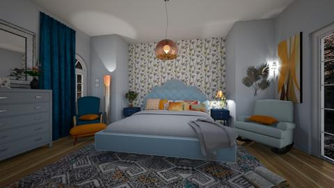 Orange Blue Interior - Bedroom  - by libra23