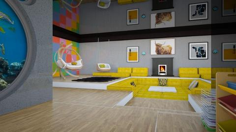 black white yellow 2 - Modern - Living room  - by Amyz625