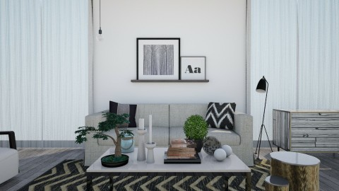 Grey Wood Floor - Modern - Living room  - by camilla_saurus
