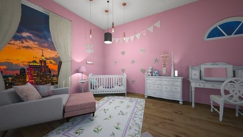 Pink and white babys room - Kids room  - by flowerghurl