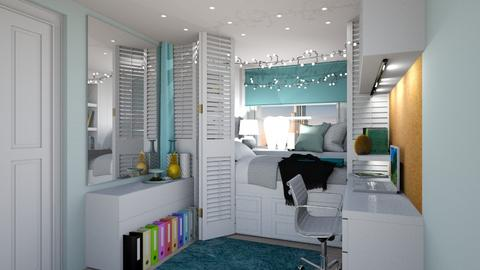 Student Dorm Teal - Bedroom  - by mydreamjob25