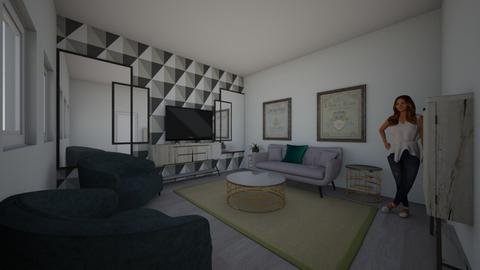 grey_green_room_ - Modern - Living room  - by hh104
