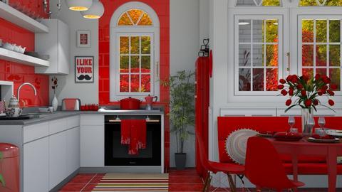 red kitchen - Kitchen  - by nat mi