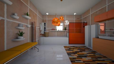 orange N white bathroom - Bathroom  - by bluedolphin12