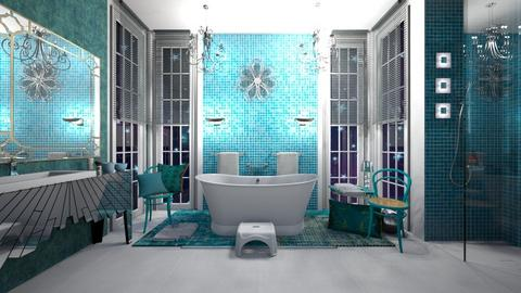 Matilda's turquoise bathroom - by Matilda de Dappere