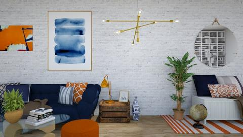 Orange and Blue - Living room - by waibelmackenzie