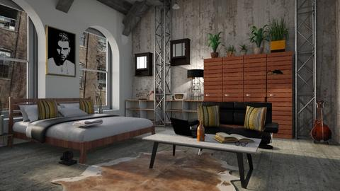 Industrial bedroom - Bedroom  - by ZuzanaDesign