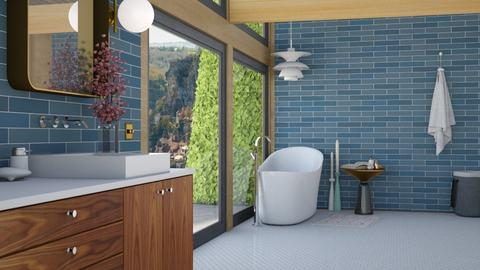 Mid century blue bath - Retro - Bathroom  - by HenkRetro1960
