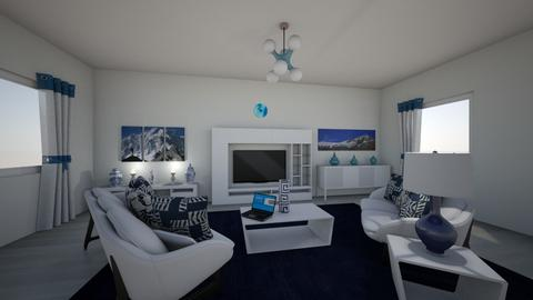 navy accent mountains - Modern - Living room  - by KramNeslon27